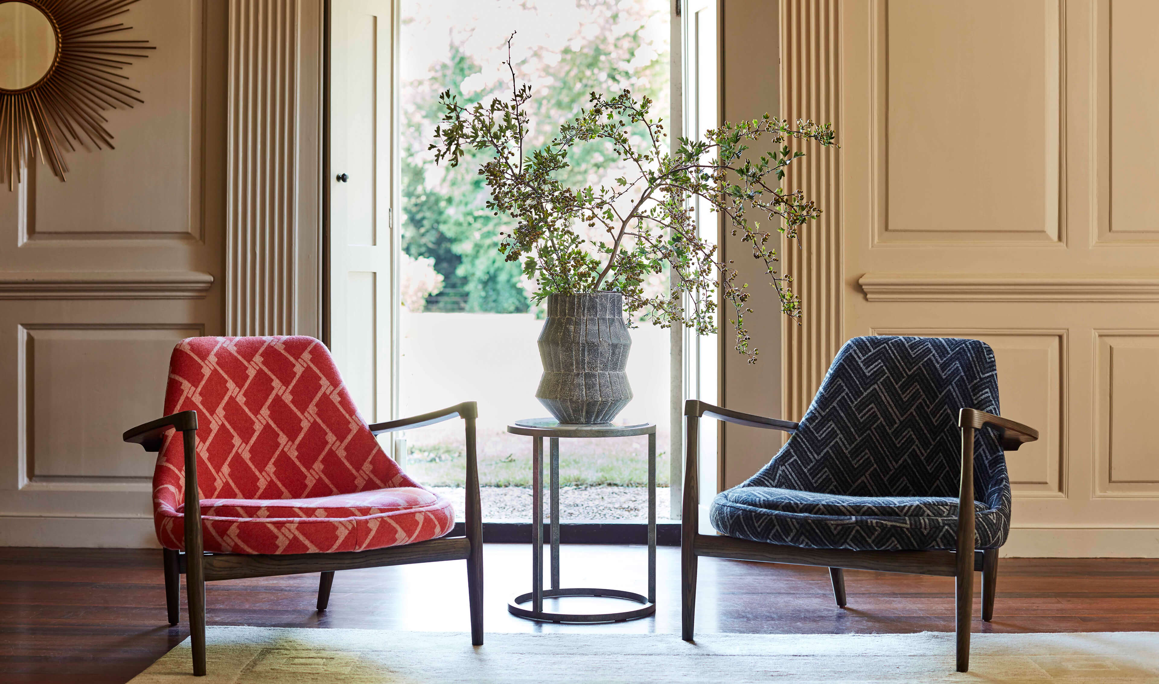 Chairs upholstered in Tempo Geometric Chevron