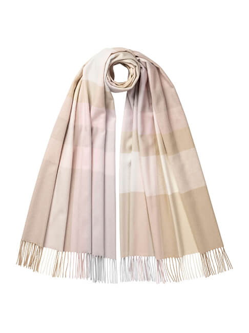 Exploded Colour Check Cashmere Stole in Neutral