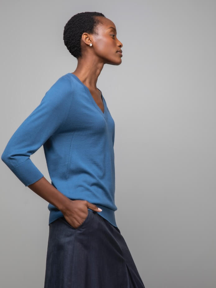 Cloud Superfine Cashmere Silk Jumper in Wedgewood