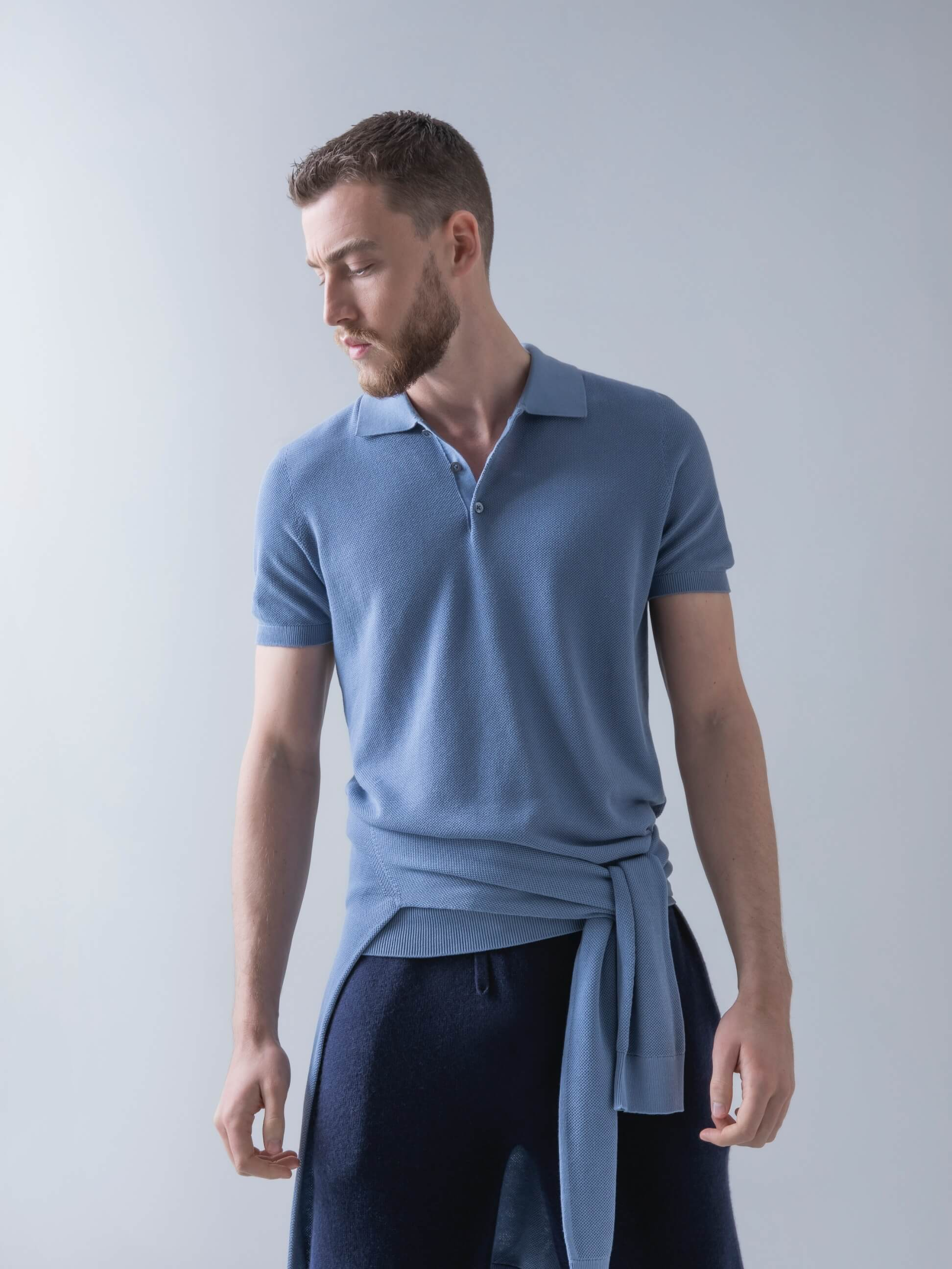 Crawford Superfine Cotton Polo Shirt in Wedgewood