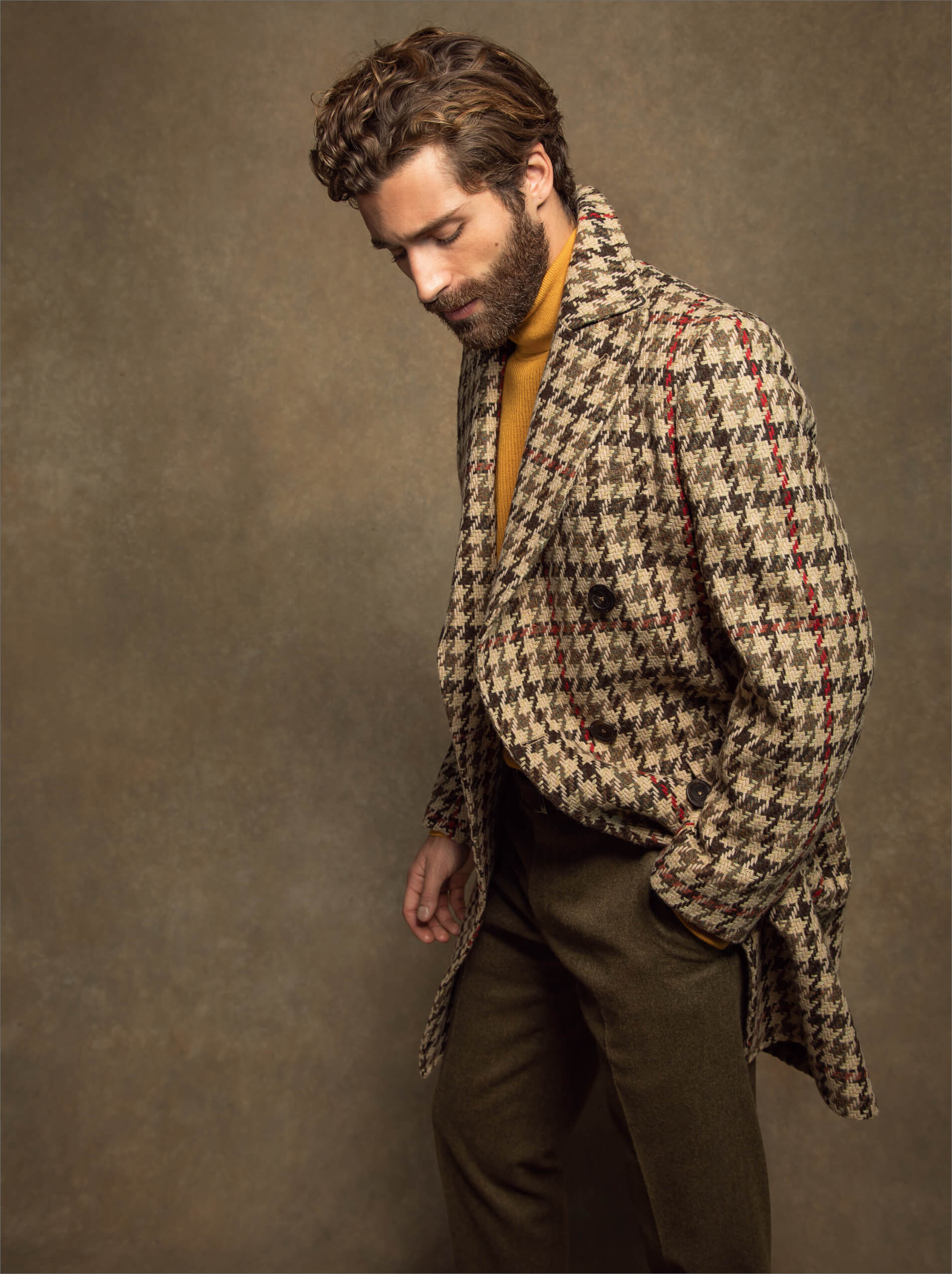 Lambswool Chesterfield Coat in Tweed Check