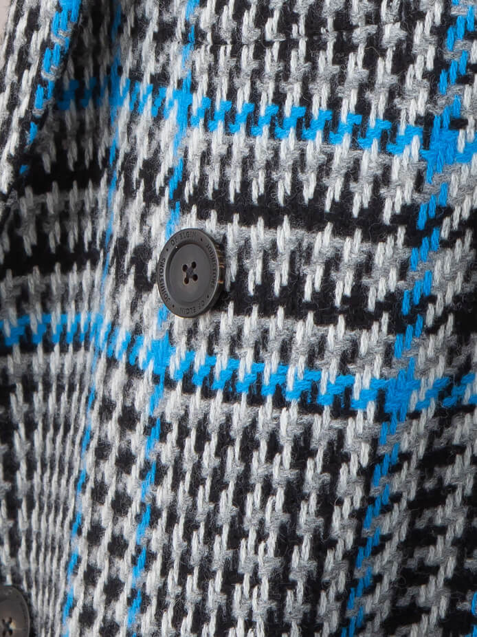 Lambswool Chesterfield Coat in Blue Check (closeup detail)