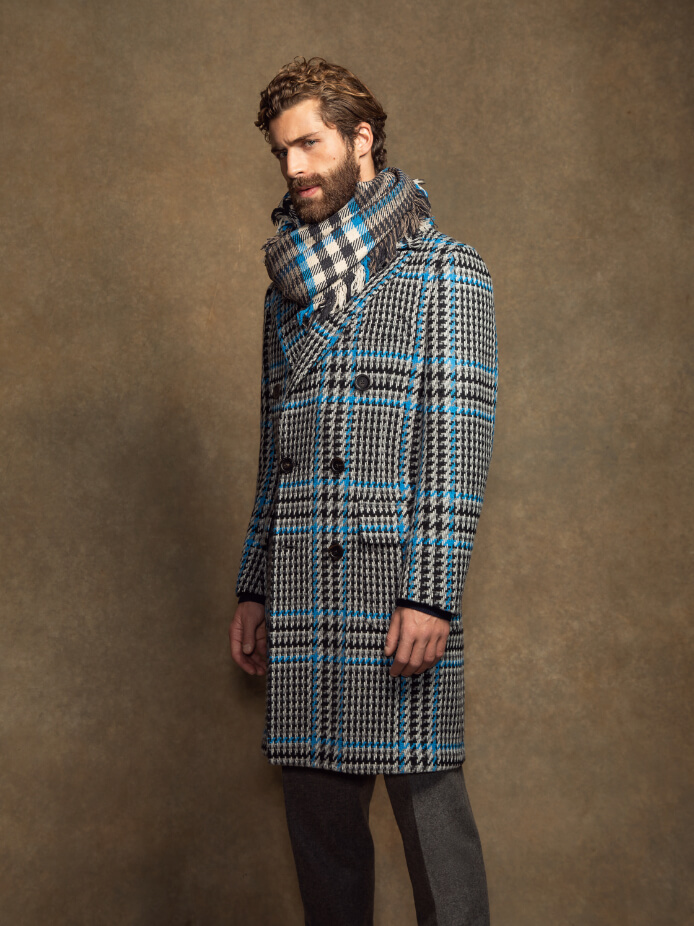 Lambswool Chesterfield Coat in Blue Check