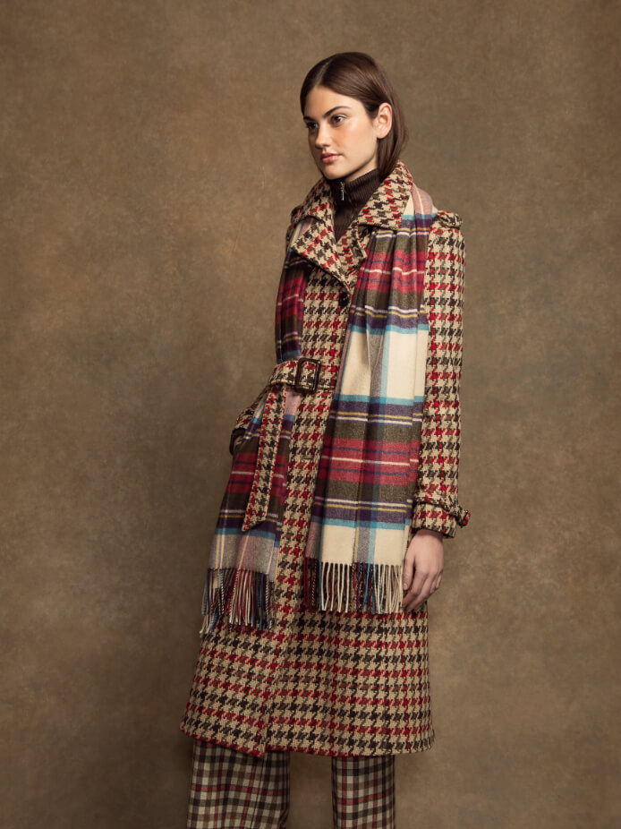 Lambswool Tweed Trench Coat