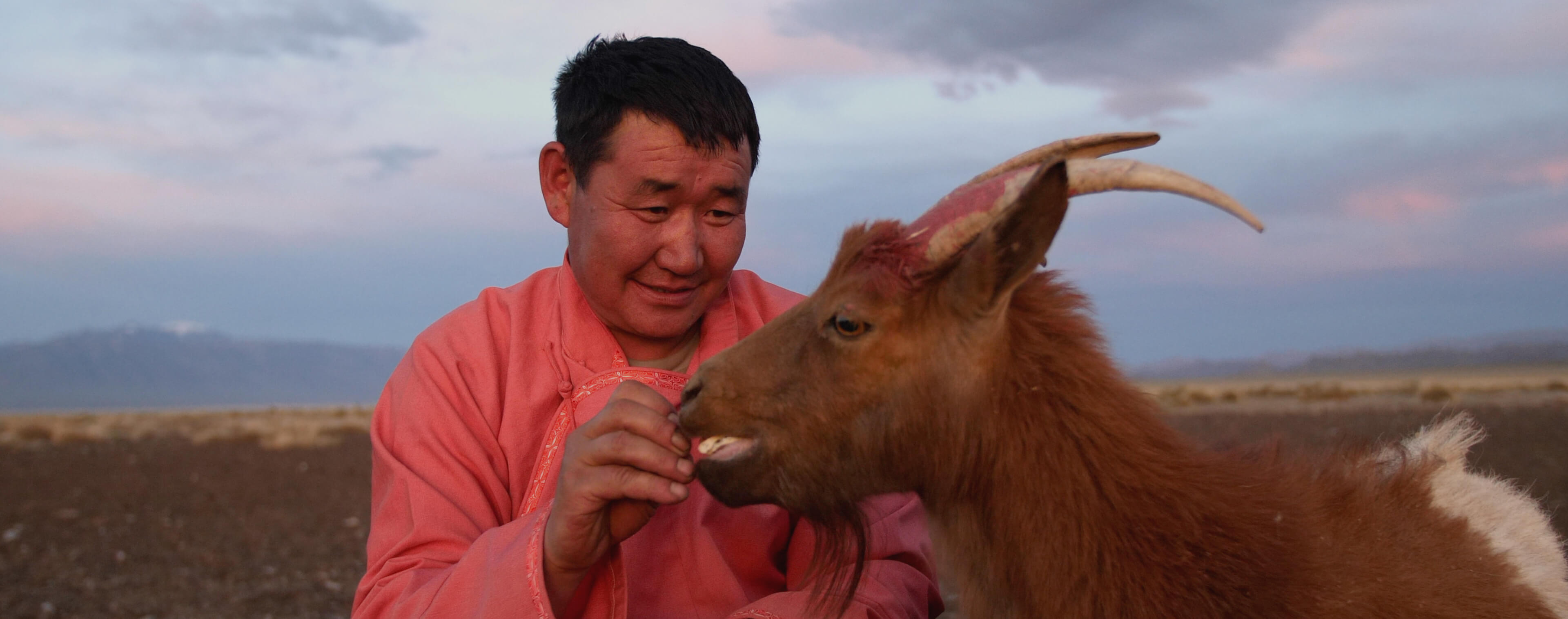 A herder with his goat