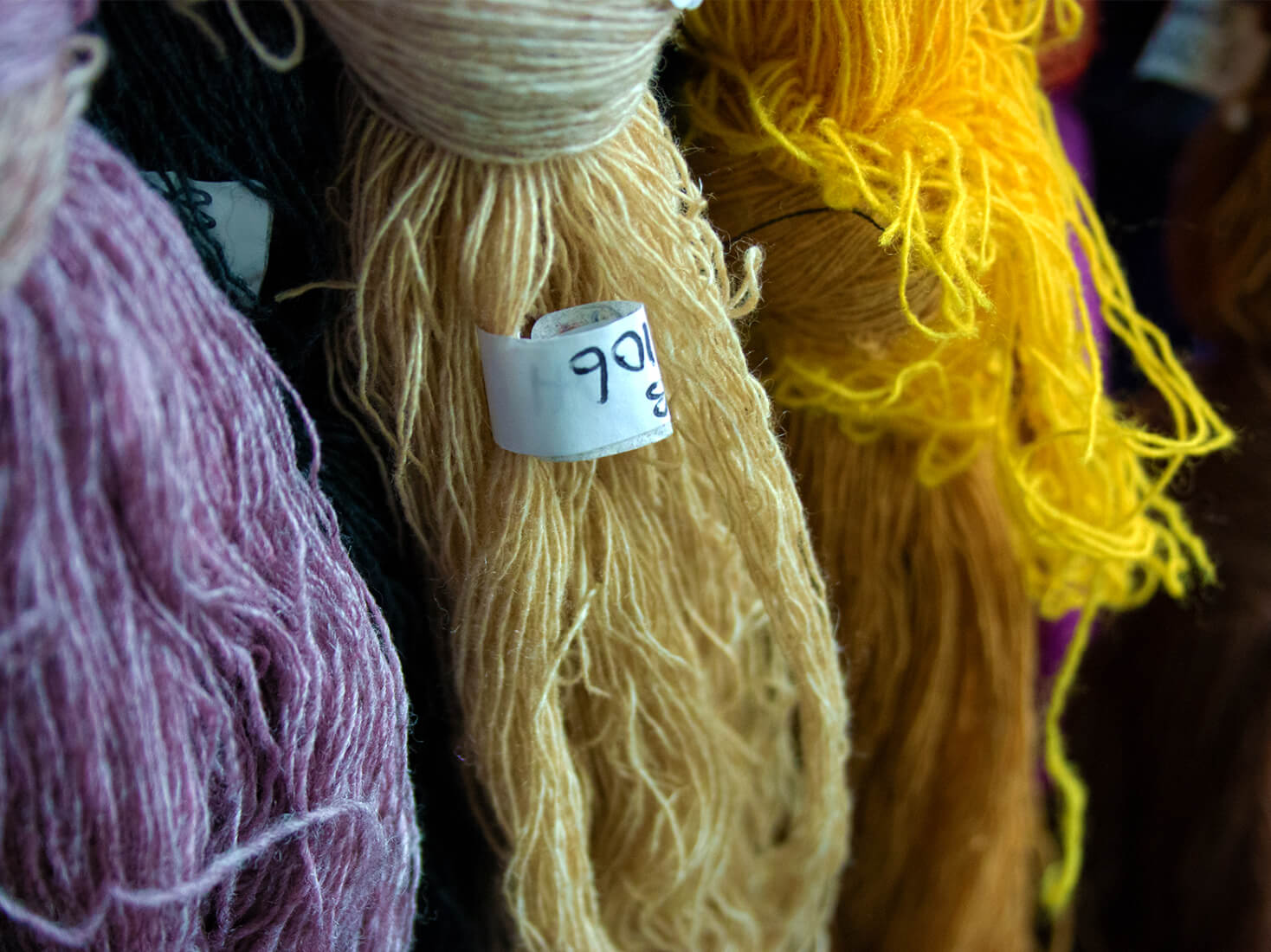 Different coloured yarns at Johnstons of Elgin