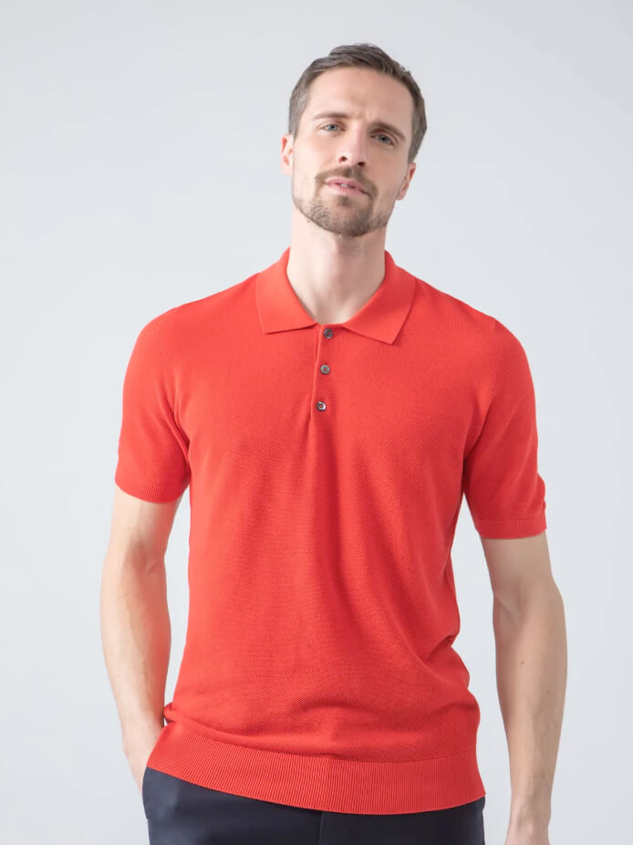 Pique Stitch Superfine Cotton Polo Shirt