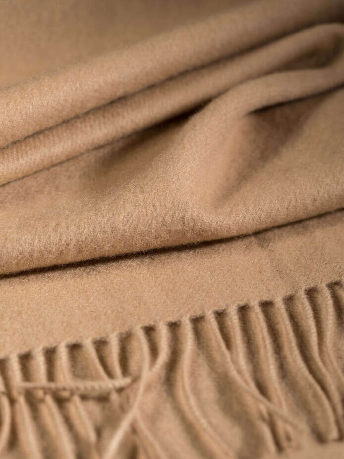 Close up of Oversized Classic Cashmere Stole in Camel