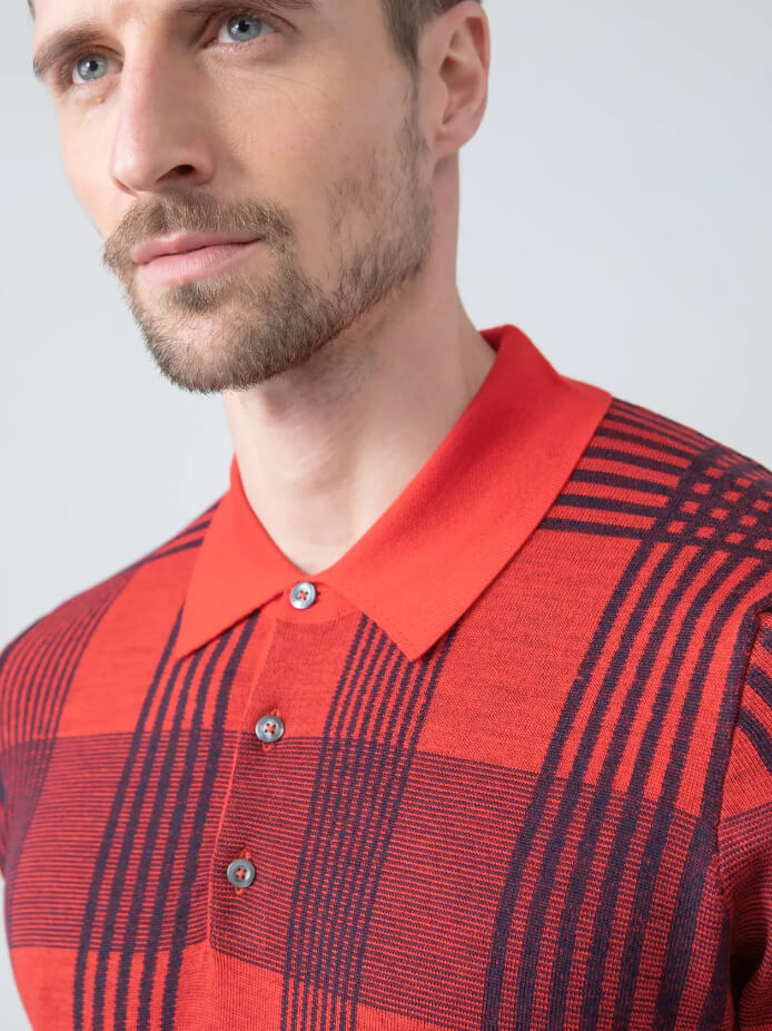 Plaid Superfine Worsted Merino Polo Shirt