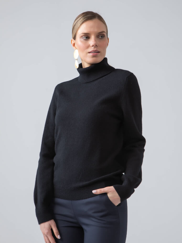 CLASSIC ROLL NECK LAMBSWOOL JUMPER IN NAVY