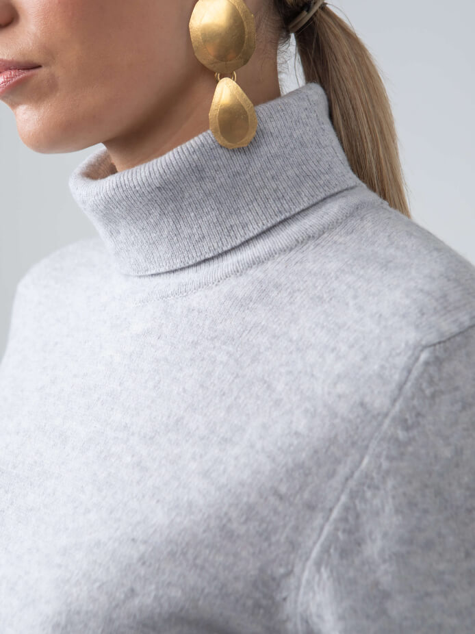 CLASSIC ROLL NECK LAMBSWOOL JUMPER IN GREY