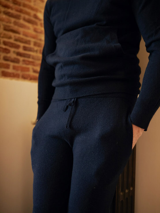 Joe Ottaway in Johnstons of Elgin Flint Seamless Cashmere Hoodie and Thomas Seamless Cashmere Joggers in Dark Navy