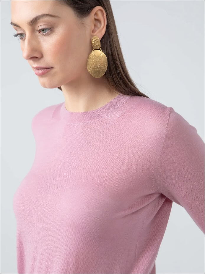 Superfine Worsted Merino Jumper in Rose
