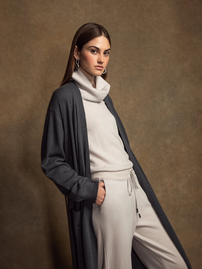 INES FULL LENGTH CASHMERE CARDIGAN | PEWTER