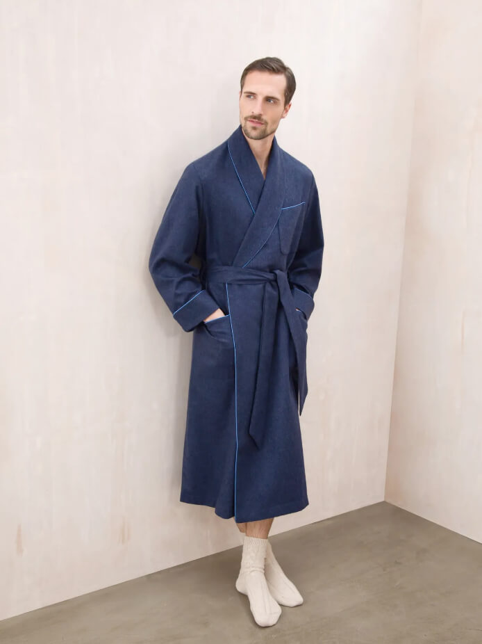 CASHMERE DRESSING GOWN WITH SILK LINING | NAVY MELANGE