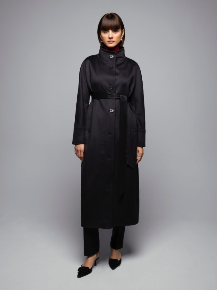 Long Belted Cashmere Cocoon Coat