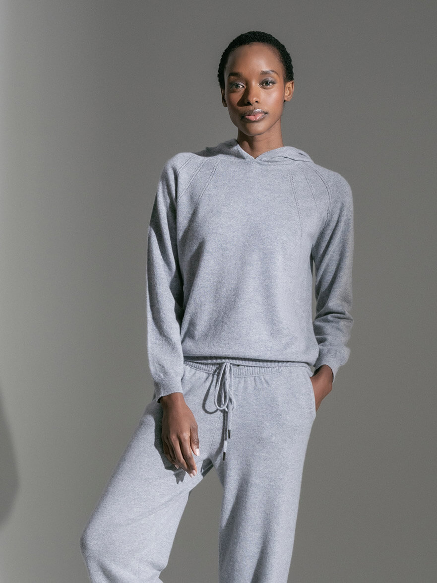 WYNN POINTELLE DETAIL CASHMERE HOODIE | SILVER & JOSEPHINE LOW RISE CASHMERE JOGGERS | SILVER