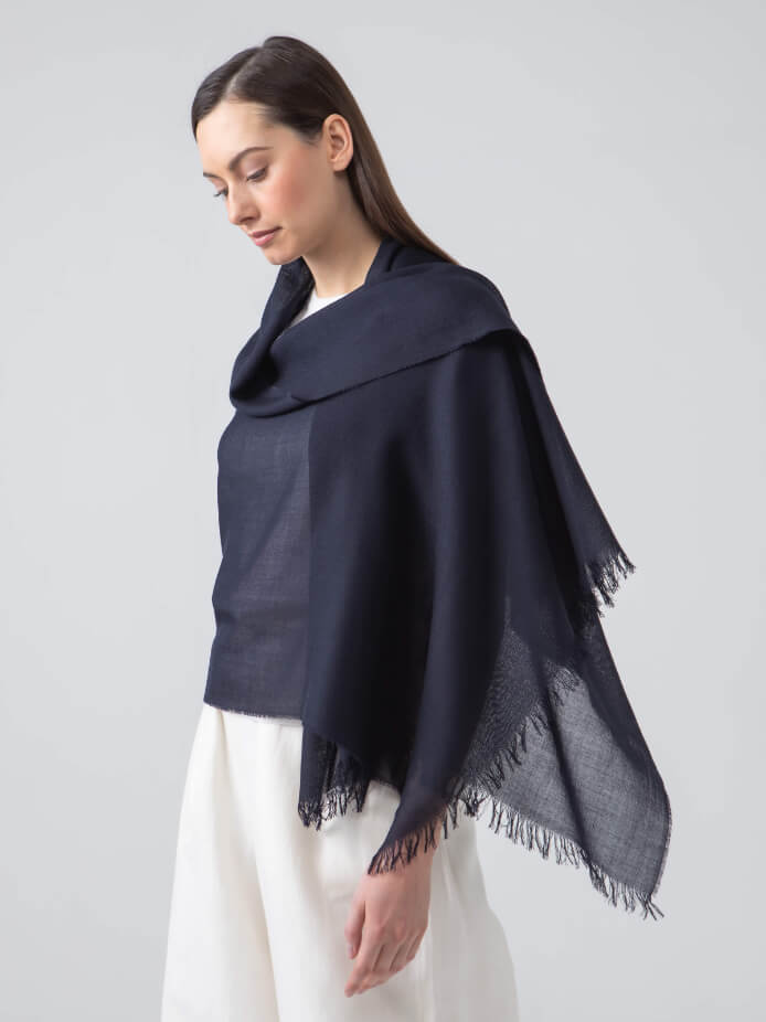 LIGHTWEIGHT MERINO SCARF | DARK NAVY