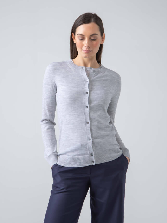 MARIA SUPERFINE WORSTED MERINO CARDIGAN | SILVER