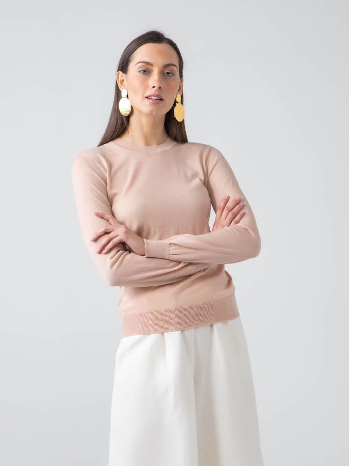 MARIA SUPERFINE WORSTED MERINO JUMPER | NUDE